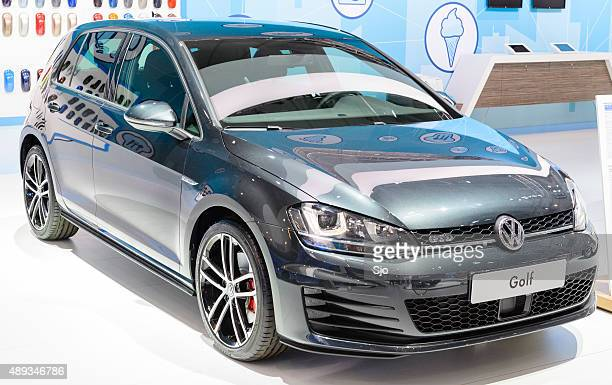 volkswagen golf gtd at the vw stand - volkswagen golf gti stock photos and pictures