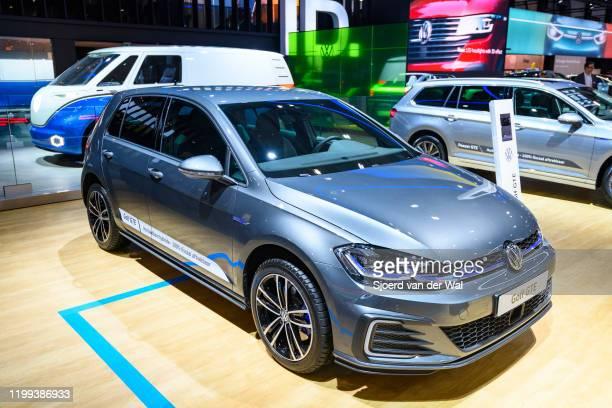 Volkswagen Golf GTE plug-in hybrid hatchback car on display at Brussels Expo on January 9, 2020 in Brussels, Belgium.