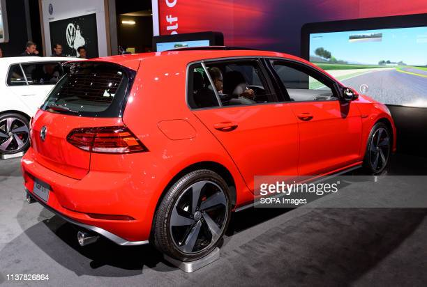 Volkswagen Golf GTI seen at the New York International Auto Show at the Jacob K Javits Convention Center in New York