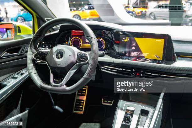 Volkswagen Golf Mk8 hatchback car interior on display at Brussels Expo on JANUARY 09 2020 in Brussels Belgium The latest edition of the Volkswagen...