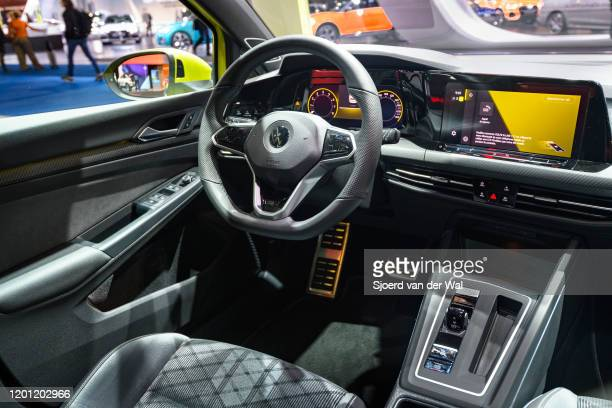 Volkswagen Golf Mk8 hatchback car interior on display at Brussels Expo on January 9 2020 in Brussels Belgium The latest edition of the Volkswagen...
