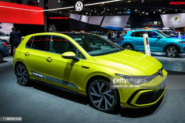 Volkswagen Golf Mk8 hatchback car on display at Brussels Expo on JANUARY 09 2020 in Brussels Belgium The eighth generation of the Volkswagen Golf...