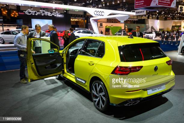 Volkswagen Golf Mk8 hatchback car on display at Brussels Expo on JANUARY 09, 2020 in Brussels, Belgium. The eighth generation of the Volkswagen Golf...