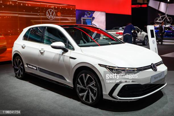 Volkswagen Golf Mk8 hatchback car on display at Brussels Expo on January 9, 2020 in Brussels, Belgium.