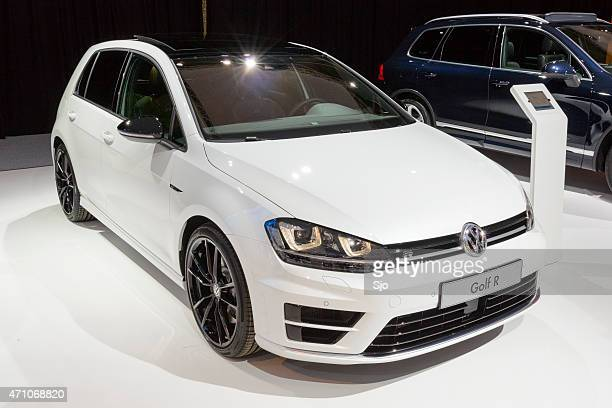 Volkswagen Golf R hatchback car at the VW stand