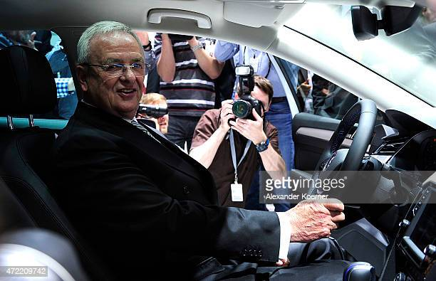 Volkswagen Group CEO Martin Winterkorn is seen inside a new Passat model prior the Volkswagen annual general shareholders' meeting on May 5 2015 in...