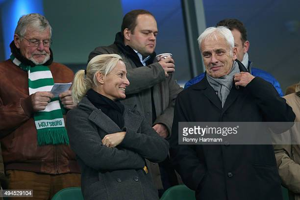Volkswagen Group Chairman Matthias Mueller and his girlfriend Barbara Rittner team captain of German Fed Cup tennis team attend the DFB Cup second...
