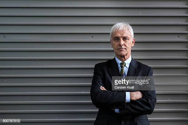 Volkswagen Group Chairman Matthias Mueller poses for a photograph after a press conference to announce the latest update in the company's handling of...
