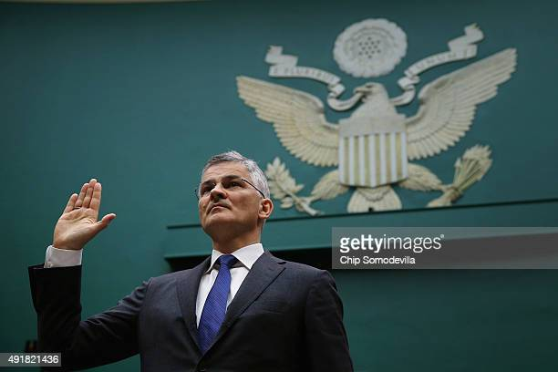 Volkswagen Group of America President and CEO Michael Horn is sworn in while testifying to the House Energy and Commerce Committee's Oversight and...