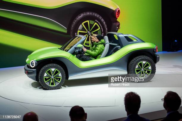 Volkswagen ID Buggy is displayed during the first press day at the 89th Geneva International Motor Show on March 5, 2019 in Geneva, Switzerland.