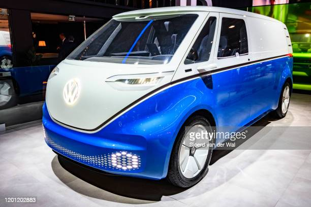Volkswagen ID Buzz or VW Electric Microbus all electric panel van concept car on display at Brussels Expo on January 9 2020 in Brussels Belgium The...