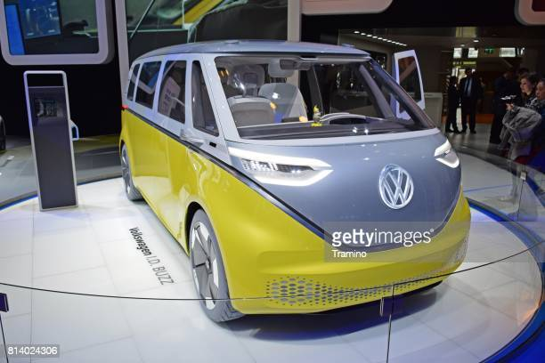 volkswagen id buzz van concept on the motor show - autonomous technology stock photos and pictures