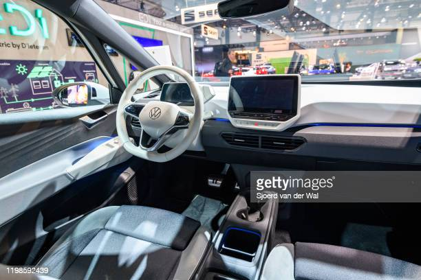 Volkswagen ID3 all electric hatchback carnon display at Brussels Expo on JANUARY 09 2020 in Brussels Belgium The ID3 is the first model of the ID...