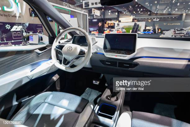 Volkswagen ID3 all electric hatchback carnon display at Brussels Expo on January 9 2020 in Brussels Belgium The ID3 is the first model of the ID...
