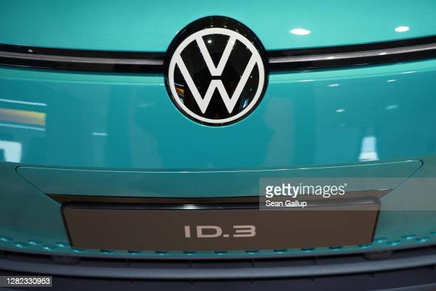 Volkswagen ID.3 electric car stands on display at the Autostadt promotional facility next to the Volkswagen factory on October 26, 2020 in Wolfsburg,...