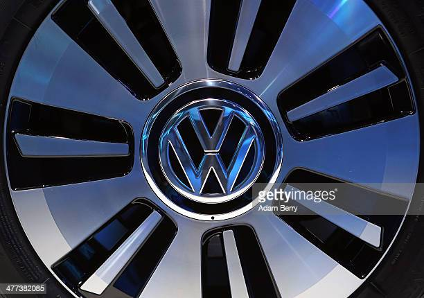 Volkswagen logo is seen on the wheel of an electric eup automobile on display at the company's 'electrified' event at the former Tempelhof airport on...