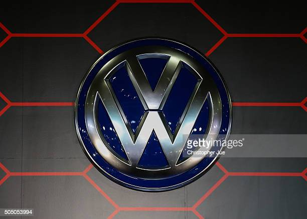 Volkswagen logo on display at the 2016 Tokyo Auto Salon car show on January 15 2016 in Chiba Japan TOKYO AUTO SALON 2016 is held from January 15 to...