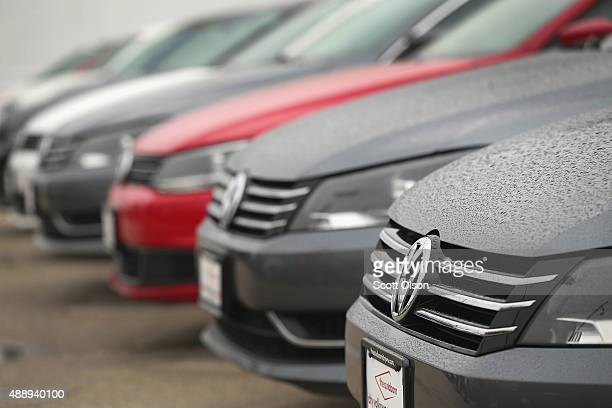Volkswagen Passats are offered for sale at a dealership on September 18 2015 in Chicago Illinois The Environmental Protection Agency has accused...