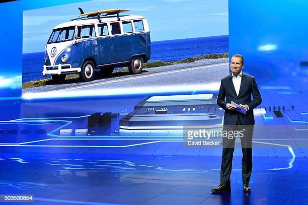 Volkswagen Passenger Cars CEO Dr Herbert Diess speaks at CES 2016 at The Chelsea at The Cosmopolitan of Las Vegas on January 5 2016 in Las Vegas...