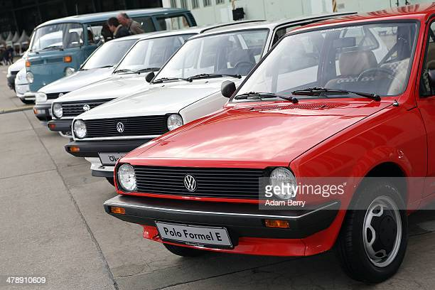 Volkswagen Polo Formel E automobile sits on disaply at the Electric Mobility Week , a public Volkswagen event at the former Tempelhof airport, on...