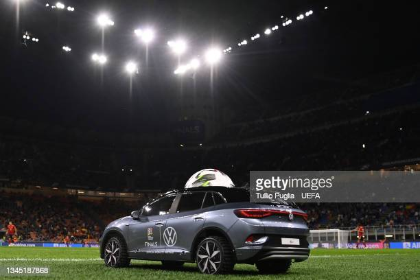 Volkswagen Remote Control Mini Car is seen carrying the official Adidas Uniforia Match Ball prior to the UEFA Nations League 2021 Semi-final match...