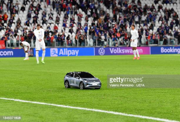 Volkswagen Remote Control Mini Car is seen on the pitch prior to the UEFA Nations League 2021 Semi-final match between Belgium and France at Juventus...