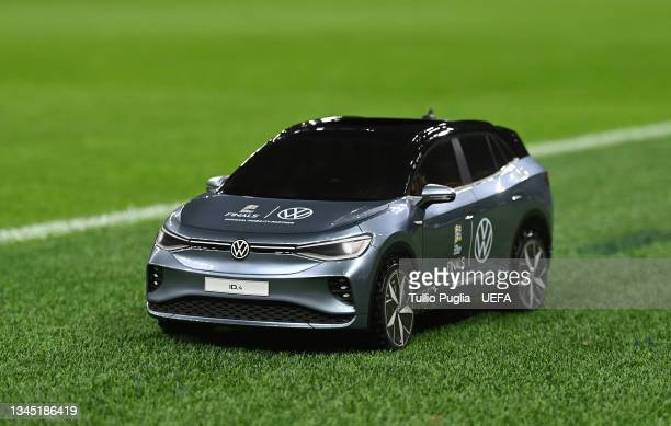 Volkswagen Remote Control Mini Car is seen prior to the UEFA Nations League 2021 Semi-final match between Italy and Spain at San Siro Stadium on...