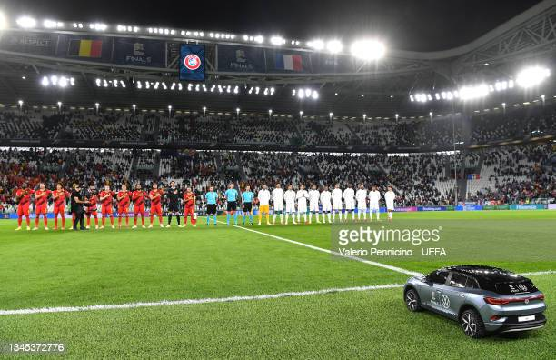 Volkswagen Remote Control Mini Car is seen prior to the UEFA Nations League 2021 Semi-final match between Belgium and France at Juventus Stadium on...