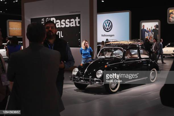 Volkswagen shows off a classic 1964 Beetle at the North American International Auto Show at the Cobo Center on January 15 2019 in Detroit Michigan...