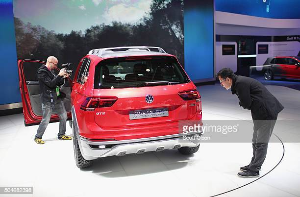 Volkswagen shows off their Tiguan GTE Active concept at the North American International Auto Show on January 12 2016 in Detroit Michigan The show is...