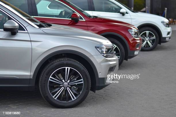 volkswagen suv vehicles on the parking - european culture stock pictures, royalty-free photos & images