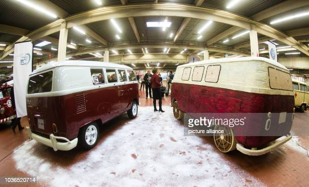 A Volkswagen T1 mini bus made of gingerbread stands in Hannover Lower Saxony Germany 17 Decemeber 2014 The sugarsweet bus weighs about 450 kilos and...