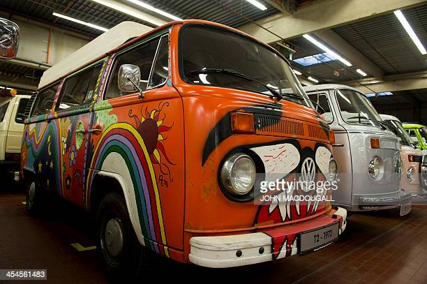 A Volkswagen T2 aka kombi or bulli 'Hippie Bus' from 173 is on display at a Volkswagen workshop specialised in restoring vintage T1 T2 T3 and T4 vans...