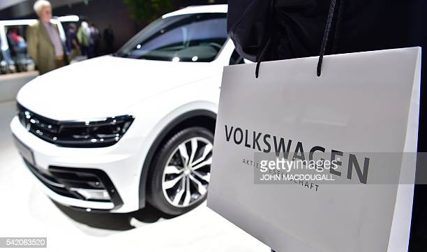 A Volkswagen Tiguan is on display during German carmaker Volkswagen shareholders' annual general meeting on June 22 2016 in Hanover MACDOUGALL