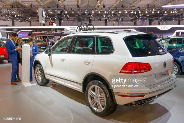 Volkswagen Touareg compact crossover SUV on display at Brussels Expo on January 13 2017 in Brussels Belgium The Touareg is available with various...