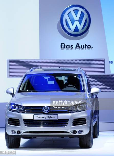 A Volkswagen Touareg hybrid automobile is seen at its presentation on the first press day of the Geneva International Motor Show in Geneva...