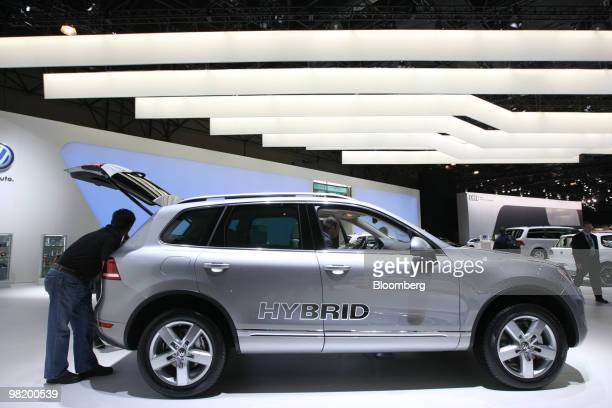 Volkswagen Touareg Hybrid sits on display during a media preview of the New York International Auto Show in New York US on Thursday April 1 2010 The...