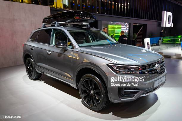 Volkswagen Touareg SUV on display at Brussels Expo on January 9, 2020 in Brussels, Belgium.