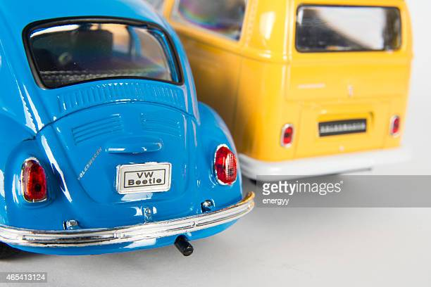 Volkswagen toy Beetle and toy minibus