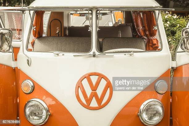 volkswagen transporter t1 camper van in a park - volkswagen stock pictures, royalty-free photos & images