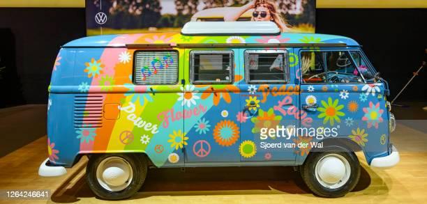 Volkswagen Transporter T1 flower power campervan on display at Brussels Expo on January 9, 2020 in Brussels, Belgium.