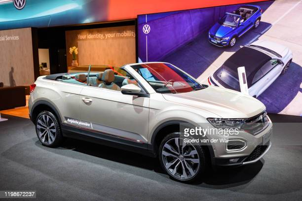 Volkswagen TRoc Cabriolet crossover convertible SUV on display at Brussels Expo on JANUARY 09 2020 in Brussels Belgium The TRoc cabrio is the opentop...