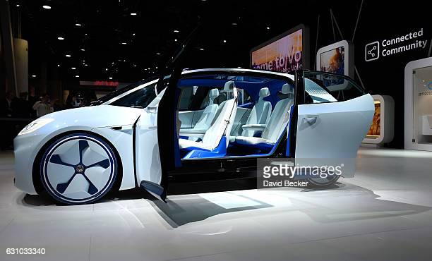 Volkswagen's ID an autonomous selfdriving concept vehicle is displayed at the Volkswagen booth at CES 2017 at the Las Vegas Convention Center on...