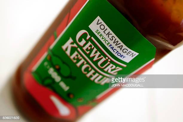 A Volkswagen's own tomato ketchup is pictured at German car manufacturing giant Volkswagen's sausage manufacturing plant at the VW headquarters in...