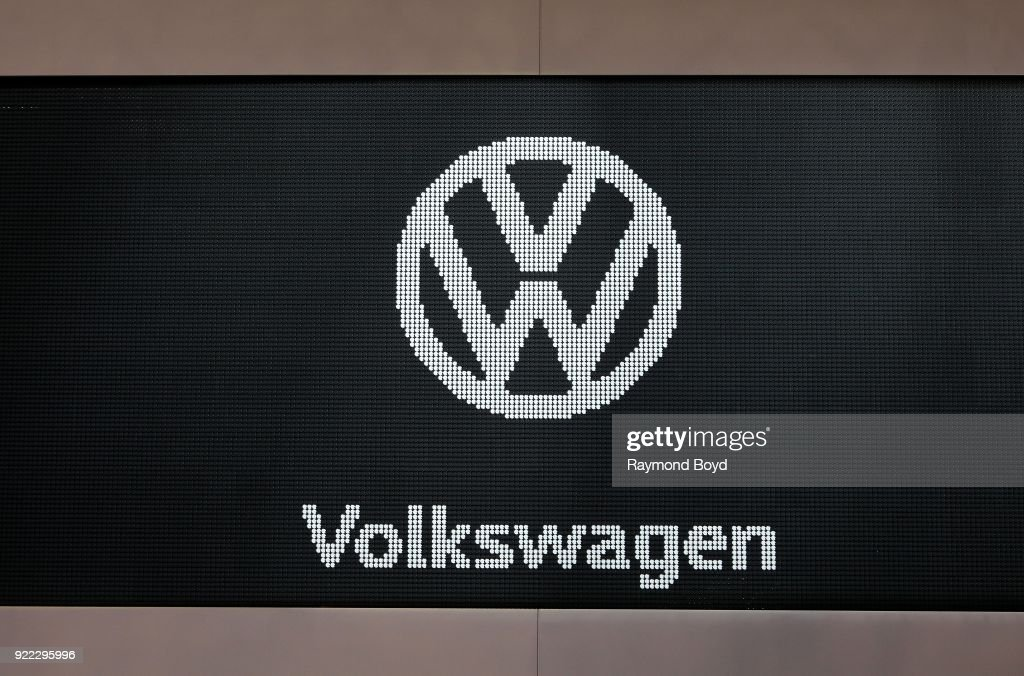 Volkswagon signage is on display at the 110th Annual Chicago Auto Show at McCormick Place in Chicago, Illinois on February 9, 2018.