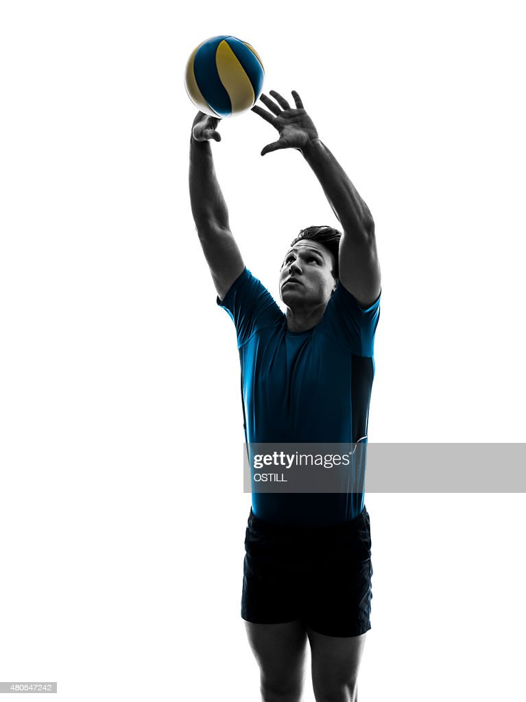 volley ball player man silhouette white background : Stock Photo