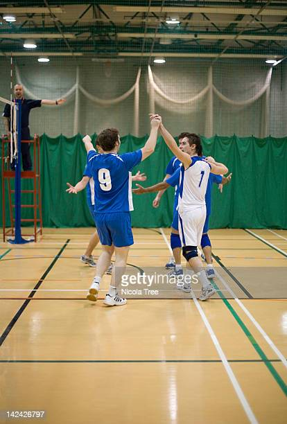 a volley ball team awarded a point in a match. - match point scoring stock pictures, royalty-free photos & images