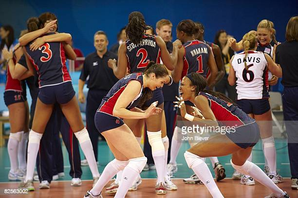2008 Summer Olympics USA Lindsey Berg and Kimberly Glass victorious vs Cuba after Women's Semifinals at Capital Indoor Stadium Beijing China...