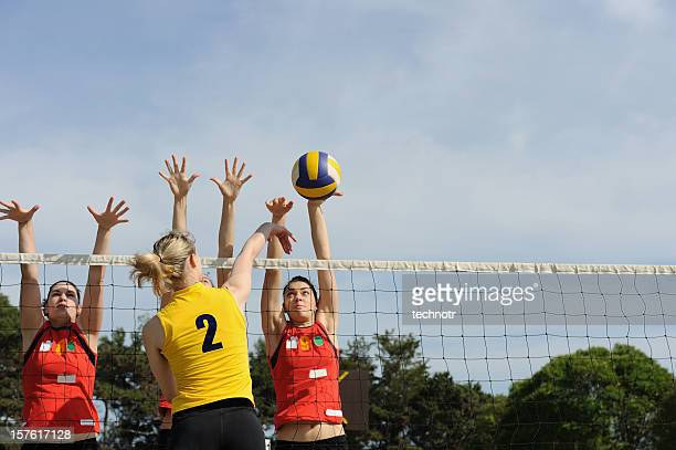 Volleyball action on the net