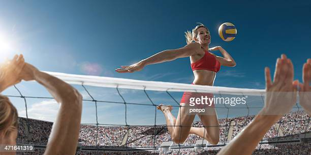 volleyball girl about to score - beachvolleybal stockfoto's en -beelden